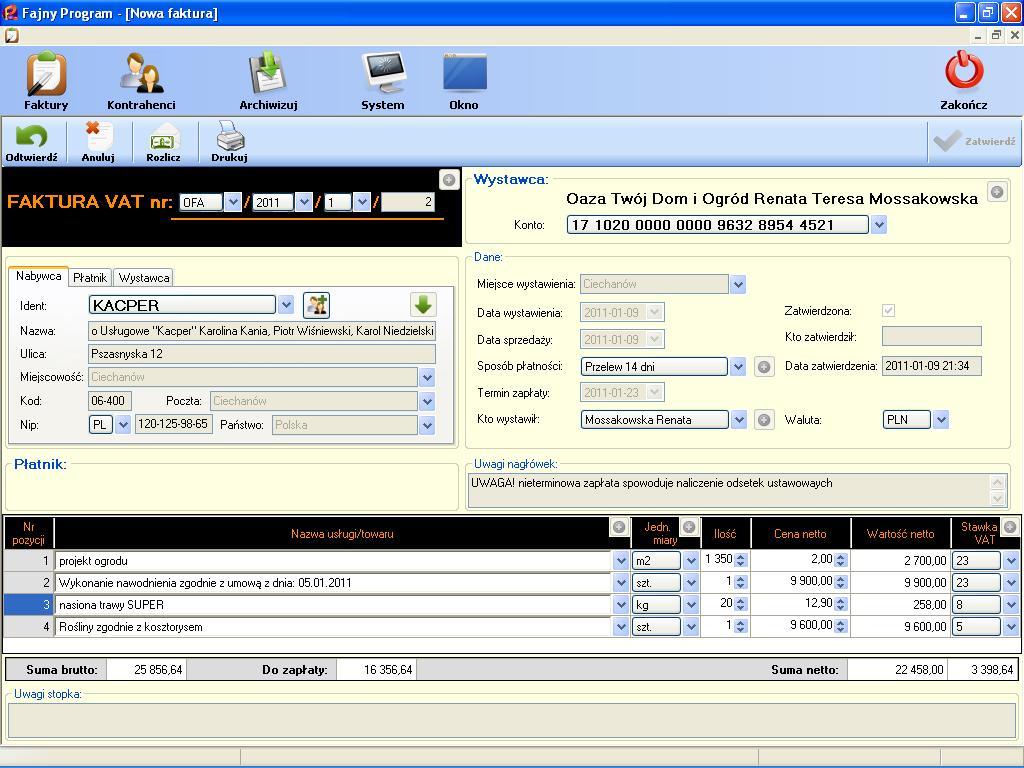 fdb1c1f2 ... Faktura VAT zatwierdzona z kilkoma pozycjami i różnymi stawkami VAT ...